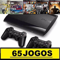 Ps3 Super Slim 320 Gb C/ Pes2017+65 Jogos No Hd +2 Controles
