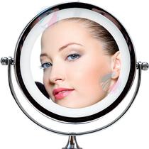 Espelho Mesa Com Luz Led Aumento 5x Dupla Face P/ Maquiagem