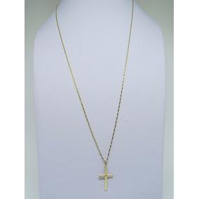 Cordão Corrente Masculina + Pingente Cruz Crucifixo Ouro 18k