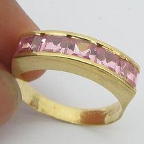 3516 Anel De Ouro 18k 750 Com Turmalina Rosa
