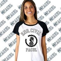 Camiseta Raglan Universitária Engenharia Civil Perzonalizada