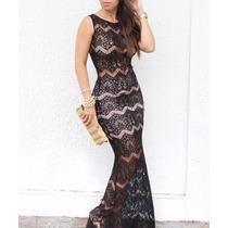 Vestido Longo Preto Inteiro De Renda - Maravilhoso!!!