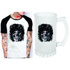 Kit Camiseta E Caneca Chopp Jim Morrison The Doors Caveira cea9efc4ff1