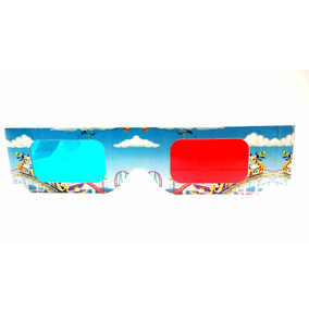 Lentes 3d Carton Mikey Mouse Fotos 3d Rojo Azul Gafas Full