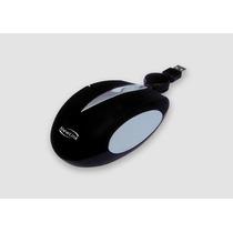 Mini Mouse Retratil Soft Preto 1000dpi Acabamento Emborrac