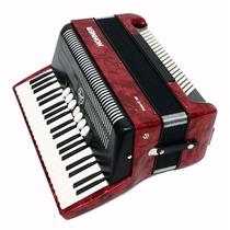Acordeón Piano Hohner Bravo 3 Rojo 120 Bajos Artemusical