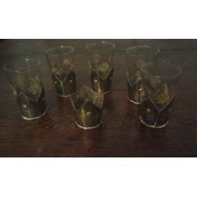 Copas De Licor Turcas Antiguas, Con Base De Metal Labrada