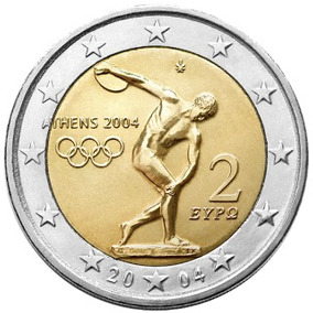 Blister Moeda Comemorativa 2 Euros Olimpíadas Grécia 2004 Fc
