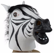 Disfraz Horror Scary Zebra Horse Head Latex Animal Mask