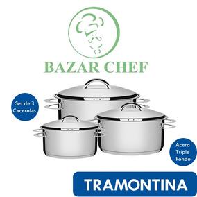 Tramontina - Set Juego Solar Cacerolas Acero - Bazar Chef
