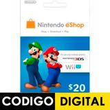 Tarjeta Nintendo Eshop Card $ 20 Usd 3ds Dsi Wii U