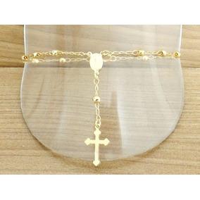 Pulseira Feminina Terço Mão Noiva C/ Crucifixo Folheada Ouro