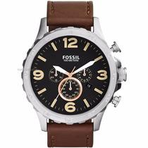 Relógio Fossil Jr1475 Couro Marrom Caixa Grande Original