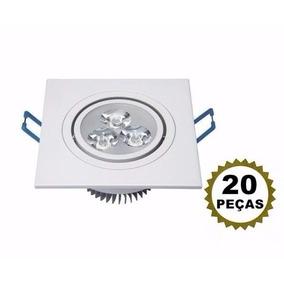 20 Lâmpada Led 3w Bivolt Spot Quadrado Embutir Frio