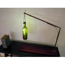 Lámpara De Botella Con Leds Y Base De Madera