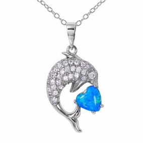 Cz Dolphin Necklace With Synthetic Blue Opal