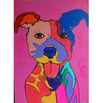 Pintura Perro Pop Art Decorativa Cuadro Tecnica Mixta