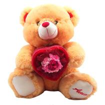 Urso De Pelúcia Grande Coração Porta Jóias Caramelo Ou Creme