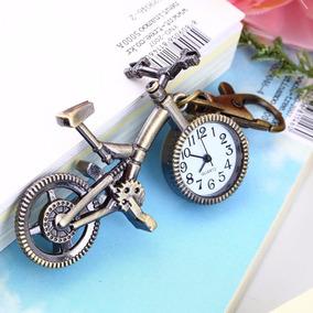 Relógio De Bolso E Chaveiro - Bronze Antigo - Bicicleta