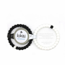 Pulseras Duo Lokai Black And White Matte Negra Blanca