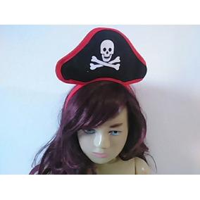 Tiara Infantil Com Mini Chapéu Pirata Preto Com Caveira