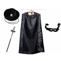 Fantasia Zorro Chapéu + Máscara + Capa + Espada