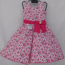 Vestido Infantil Criança Festa Floral - Rosa
