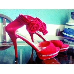 Zapatos Rojos Altos De Gamuza Talla 40 Como Nuevos Oferta