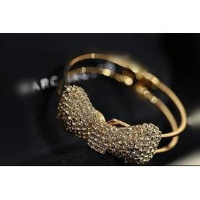 Pulseira Bracelete Feminino Dourada Borboleta Ouro Cristais