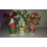 Adornos Botellas Decoradas Navideñas