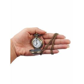 Relógio De Bolso Retro Estampado Antigo Analógico C/corrente