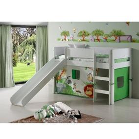 Mini-cama Alta Cabana Fritz Com Escorregador Branca