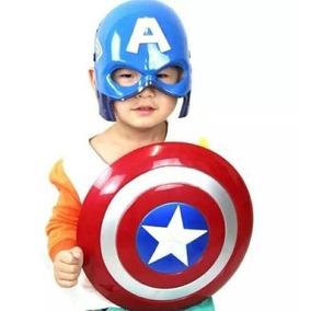 Kit Capitão América - Escudo + Máscara Som Luz - Em Até 12x