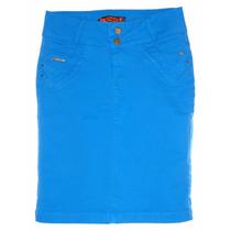 Saia Jeans Moda Evangélica Color Com Elastano (38 A 46)