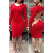 Moda Sexy Mini Vestido Rojo Con Mangas Y Aberturas Tiras