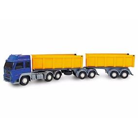 Miniatura Carreta Bitrem Caçamba Caminhão Brinquedo 7 Eixos