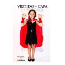 Roupa De Bruxa Bruxinha Com Capa Fantasia Infantil Halloween