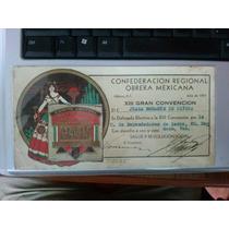 Invitación Crom Convención 1937 Con Derecho A Voz Y Voto Pri