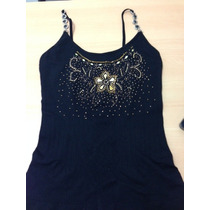 Camisa Blusa Franela Negra De Vestir Elegante Con Piedreria