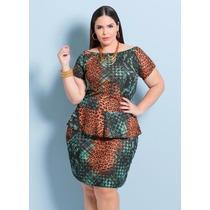 Vestido Detalhes Oncinha Feminino Roupa Plus Size Verde