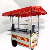 Carrito Hot Dogs Hamburguesas Carro Carreta Puesto Acero