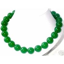 Collar De Jade Verde Con Broche De Plata 49cm