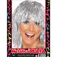 Peluca Metalizada Plata - Hoy Muy Barata La Golosineria