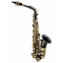 Sax Alto Mib Preto Chaves Douradas + Case . Saxofone . Loja