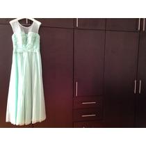 Vestido Verde Menta Talla 8 Marca Eva Brassi Seminuevo