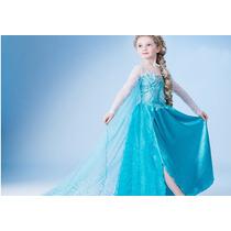 Fantasia Princesa Elsa Vestido Frozen Tamanho ( 3 E 4 Anos )