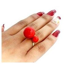 Anel Folheado A Ouro 18k Dior Inspired Regulável Vermelha