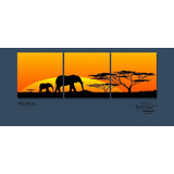 Cuadro Triptico Small Elefante Africanos