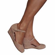 Sapato Feminino Boneca Nude Salto Anabela Ultra Conforto