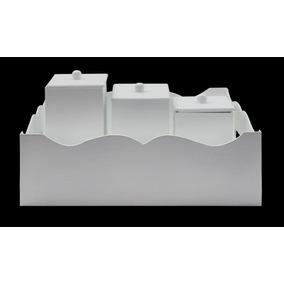 Cesto C/ 3 Potes Liso Branco - Mdf